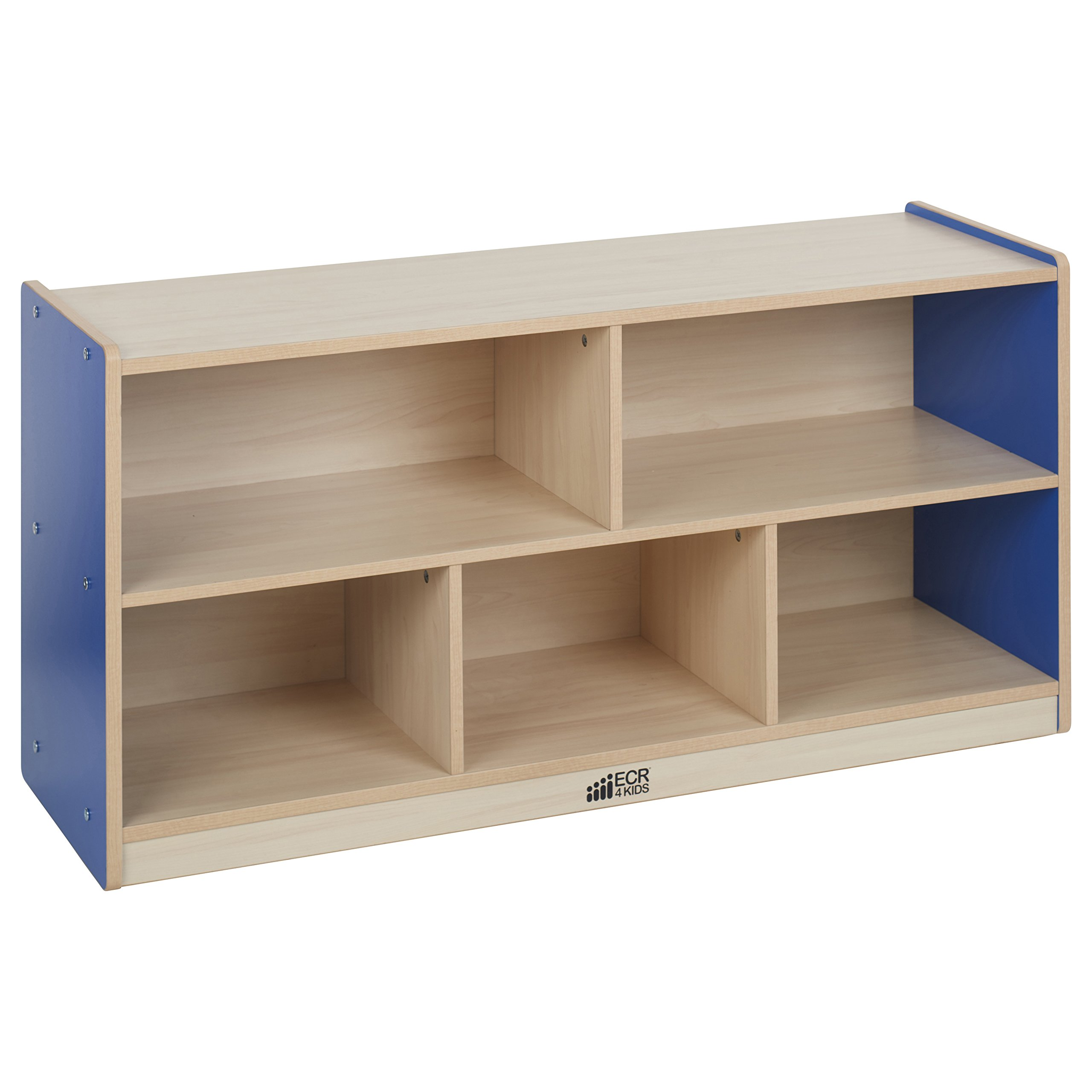 ECR4Kids Colorful Essentials 5-Compartment Storage Cabinet, Maple and Blue, 24'' H
