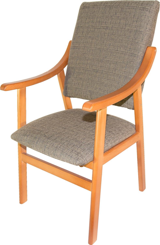 Sillón silla de madera maciza color cerezo. Tapizado marrón ...