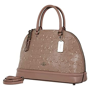 f51150e9e91 Amazon.com: COACH SIGNATURE SIERRA SATCHEL HANDBAG DEBOSSED PATENT LEATHER  BLUSH F27598: Brand World US
