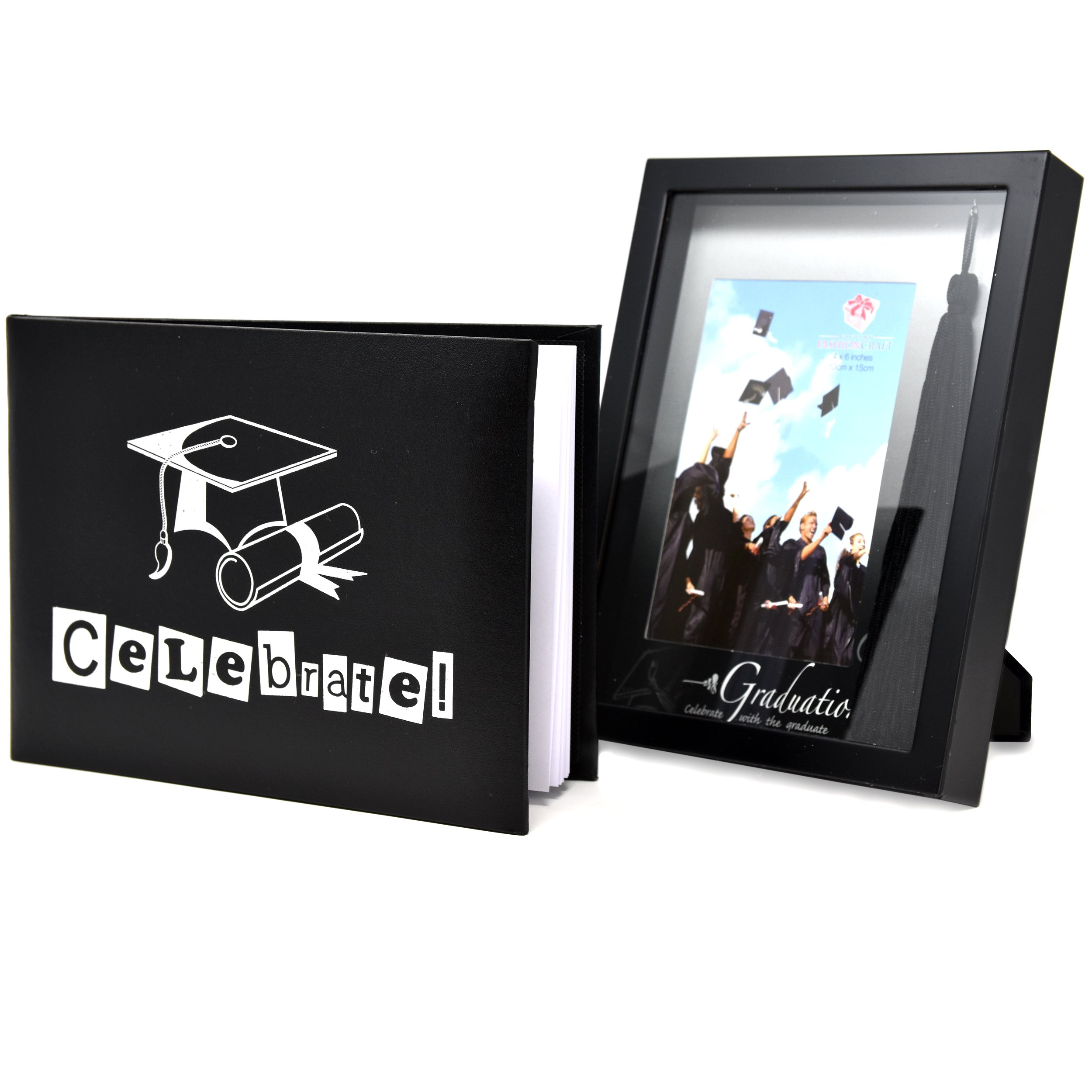 Graduation 2018 Gifts 4x6 Picture Photo Frame with Tassel Holder and Black Autograph Book Keepsake Elegant Personal Memories Grad Gift for Adults Women Men Teens Kids Children Girls Boys Students
