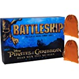 Pirates of the Caribbean Battleship Board Game _ Dead Men Tell No Tales _ Bonus 2 Brown Velveteen Drawstring Pouches _ Bundled Items