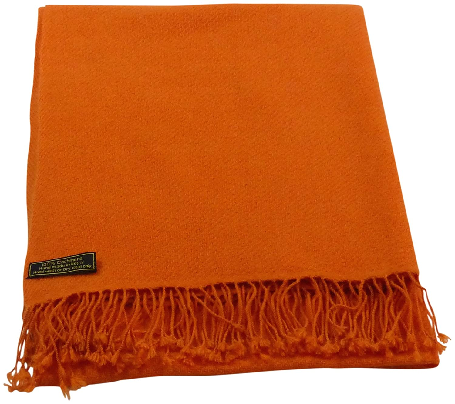 orange Beige High Grade 100% Cashmere Shawl Scarf Wrap Hand Made in Nepal NEW