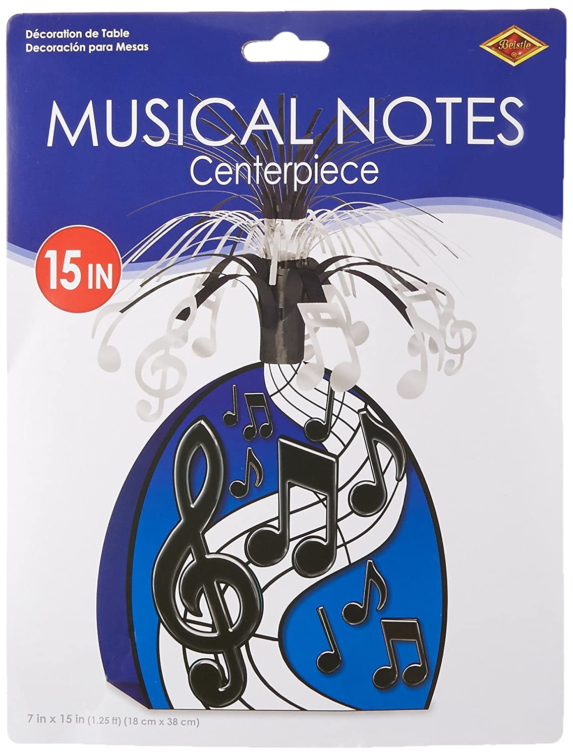 Musical Notes Centerpiece (black & silver) Party Accessory(1 count) (1/Pkg)