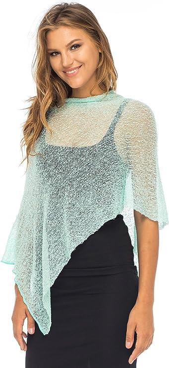 Sharanel Sheer Knit Turquoise Long Poncho