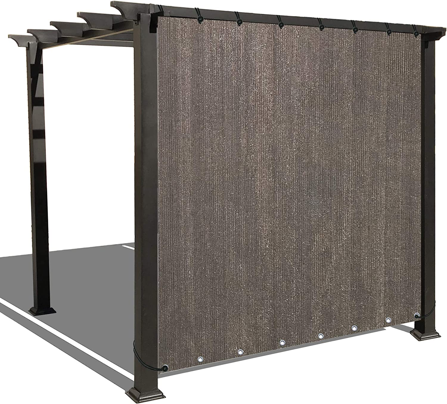 Alion Home Sun Shade Privacy Panel with Grommets on 2 Sides for Patio, Awning, Window, Pergola or Gazebo – Mocha Brown 10 x 12