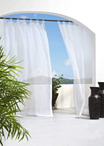 "Outdoor décor Escape Water Repellent Sheer Outdoor Curtain, 54"" X 84"", White"