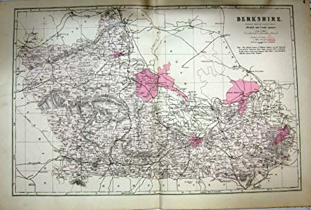 Map 1884 Berkshire England Reading Marlow Oxford Amazon Co Uk