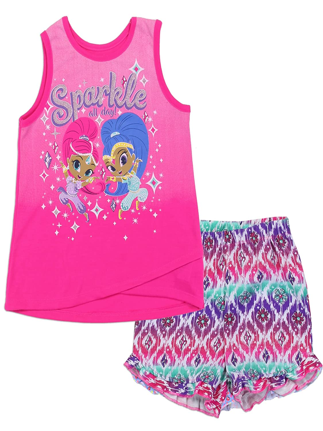 Shine Shimmer and Shine Big Girls' 2PC Short Set, Bright Pink and fix the brand name to Nickelodeon