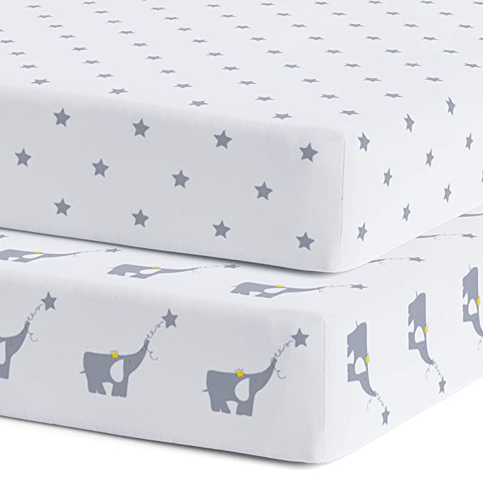 Crib Sheets 100 Certified Organic Jersey Cotton Fitted Crib Sheets For Standard Crib And Toddler Mattresses 2 Pack Super Soft Bed Sheets Unisex Gray Nursery Bedding For Baby Boy Or Girl Baby