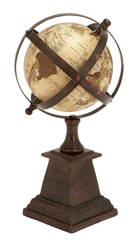 "Deco 79 28343 Industrial Decorative Metal Globe 12"" H x 6"" L Textured Multicolored Finish"