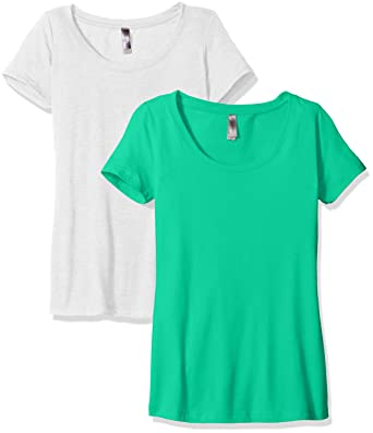 790e5d5b65f3 Clementine Apparel Women's 2 Pack Short Sleeve T Shirt Easy Tag Crew Neck  Soft Triblend Undershirt Tees (6730)