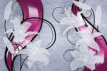 Photo papier peint floral, décoration murale, Graphique de fleur Lis on