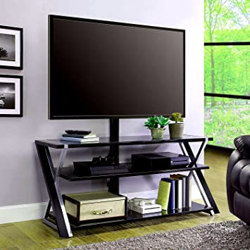 Amazon Com Multi Media Tv Stand With 3 Way Display Wall Mount Open
