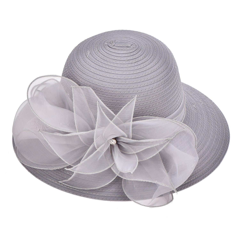 Lawliet Womens Kentucky Derby Floral Wide Brim Church Dress Sun Hat A323    Sun Hats   Clothing 392981f1d17a