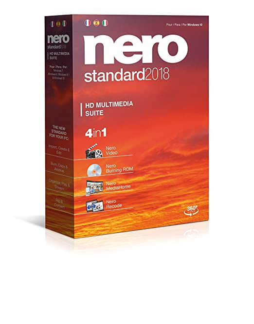 Nero Standard 2018 - Software De Edición Multimedia, 4in1, Para Windows 10