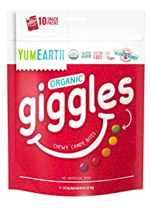 YumEarth Organic Giggles Chewy Candy, Fruit Flavored, 10 Snack Packs per bag - Allergy Friendly, Non GMO, Gluten Free, Vegan