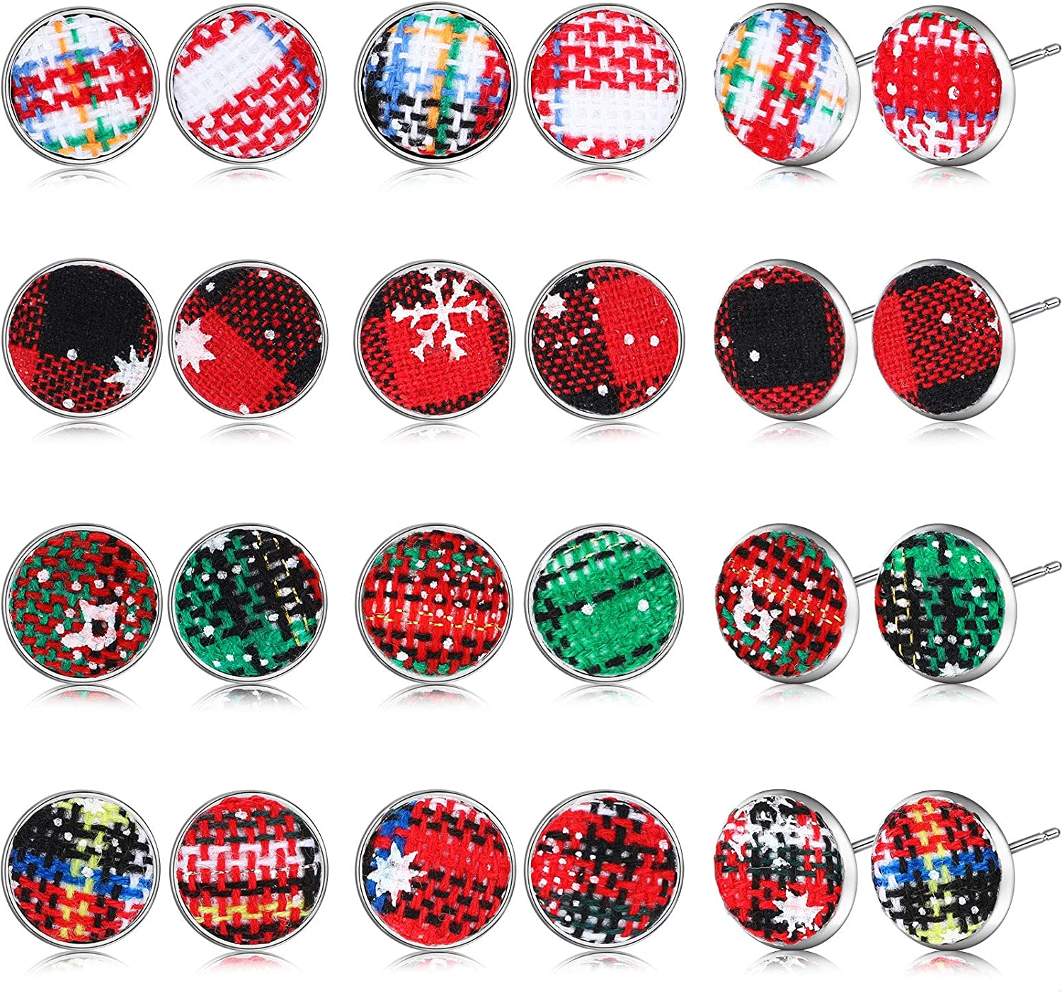 12 Pairs Christmas Snowflake Plaid Fabric Button Earrings Studs Jewelry Set for Women Girls Teens Holiday Party Decor, 24 Pieces in Total
