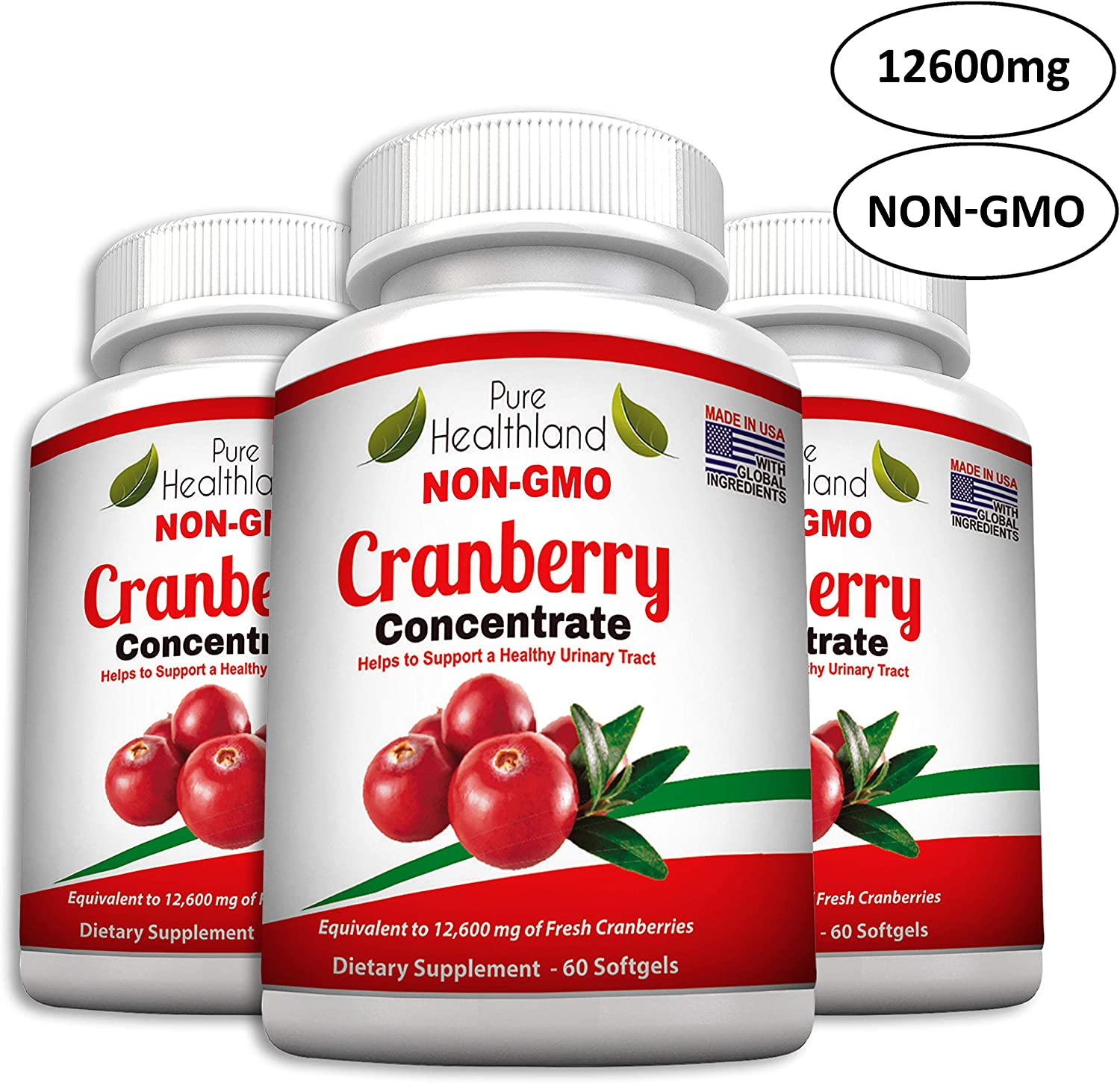 Non GMO Cranberry Concentrate Supplement Pills for Urinary Tract Infection UTI. Equals 12600mg Cranberries. Triple Strength Kidney Bladder Health for Men Women. Easy to Swallow Softgels, 3 Bottles