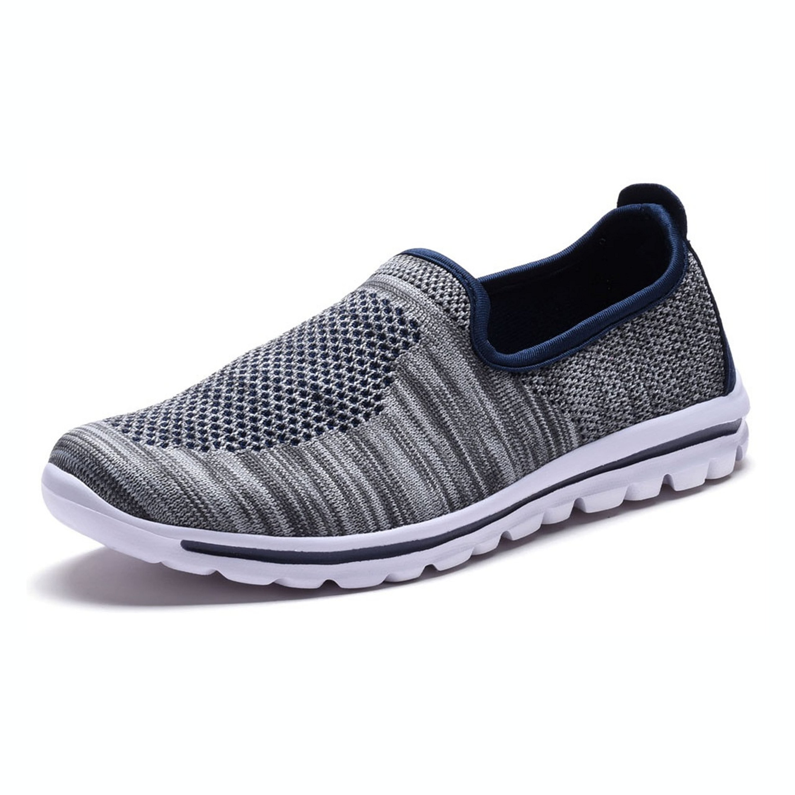 DailyShoes Women's Fit Mesh Slip-on Style Walking Shoes with Memory Foam Insoles- Breathable Mesh - Durable Soles - Reliable Traction - Perfect for Walks and Jogs, Gray Navy Mesh, 8 B(M) US