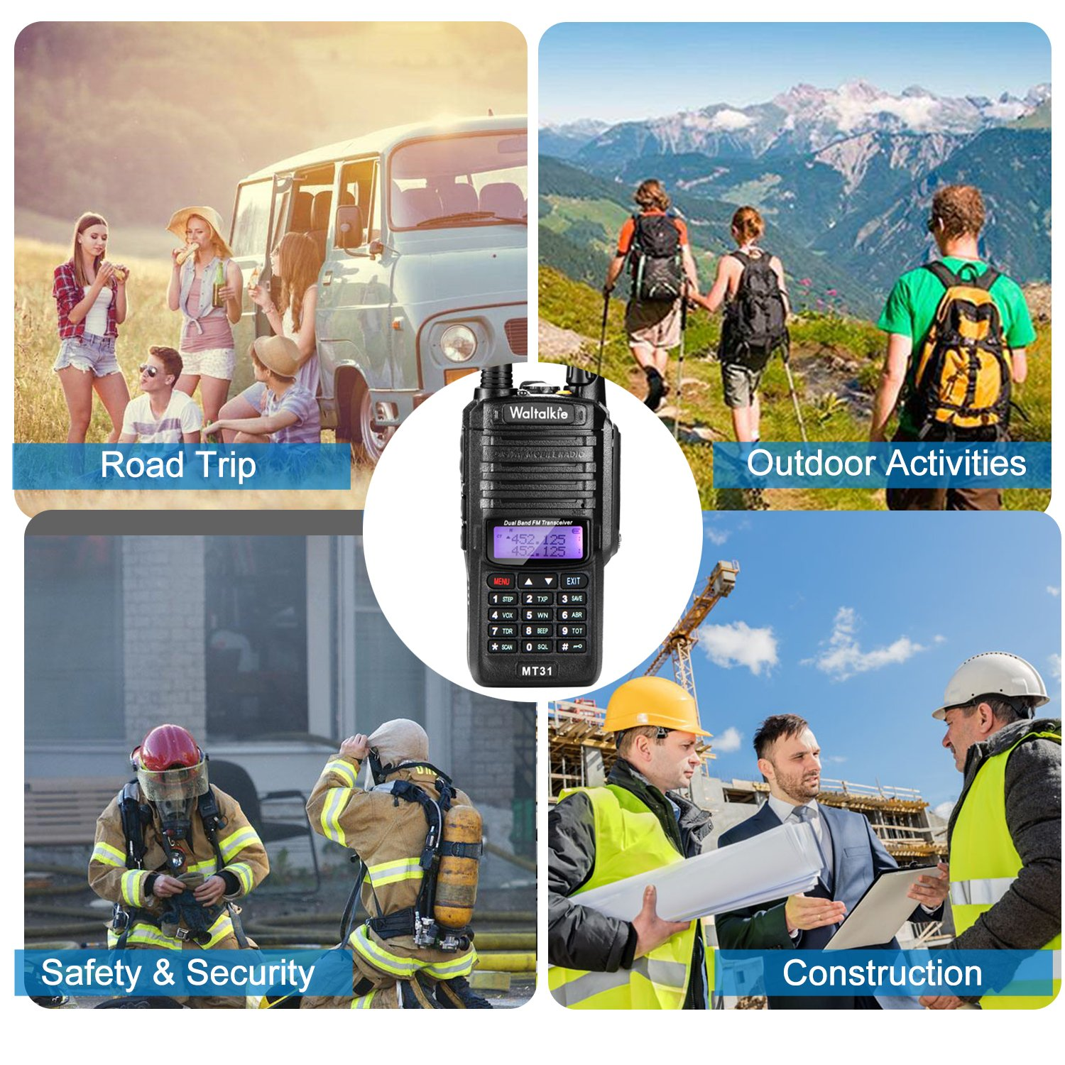 Wireless Radio Transceiver, IP66 Waterproof & Dustproof Two Way Radio Walkie Talkie with Headset/LED Flashlight/Battery/Charger for Indoor & Outdoor Activities by Waltalkie (Image #7)
