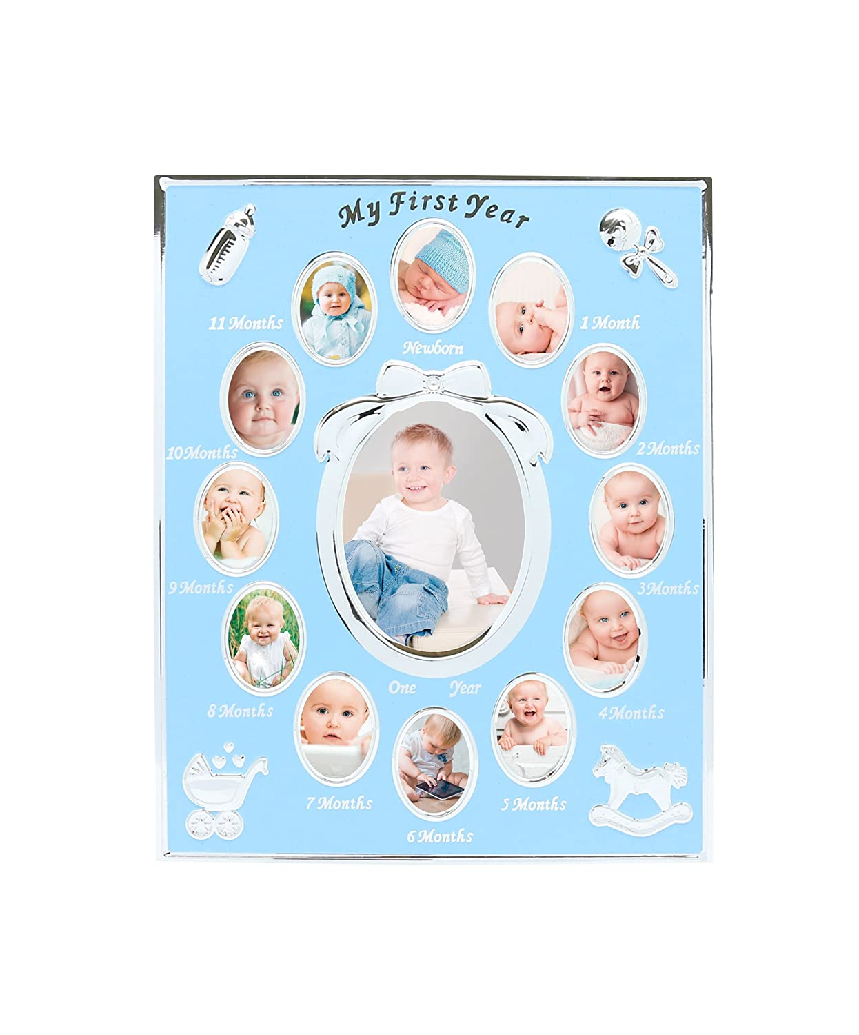 Tiny Ideas Baby s First Year Keepsake Picture Photo Frame, Silver Blue