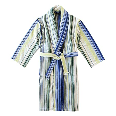 Homescapes Christy Pinstripe Cotton Dressing Gown Blue, Green, Grey ...