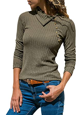 04aeb216ff FARYSAYS Women s Fashion 2018 Casual Long Sleeve Rib Knit Button Detail  Blouses Tops Army Green Small
