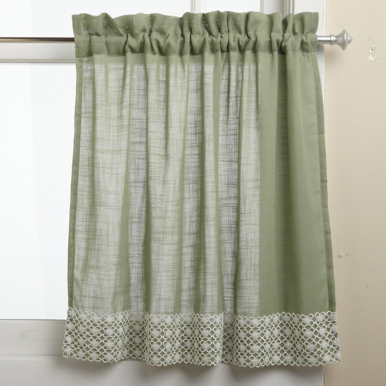 LORRAINE HOME FASHIONS Salem 60-inch x 36-inch Tier Curtain Pair, Sage