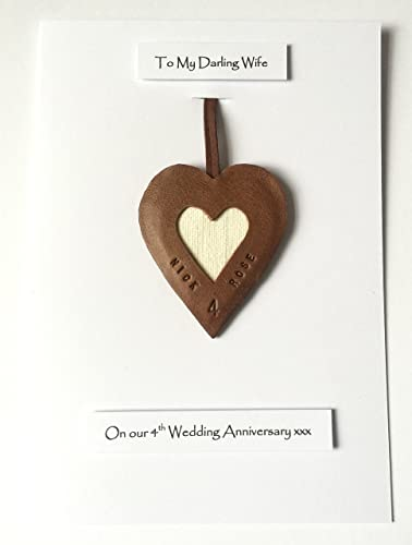 Personalised 4th Wedding Anniversary Leather Heart Gift Card Linen