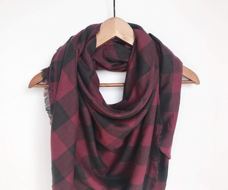 Burgundy Buffalo Plaid Blanket Scarf Christmas Gift