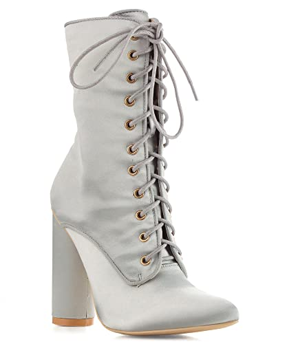 PAW-50 Womens Satin Lace Up Fashion Ankle Booties
