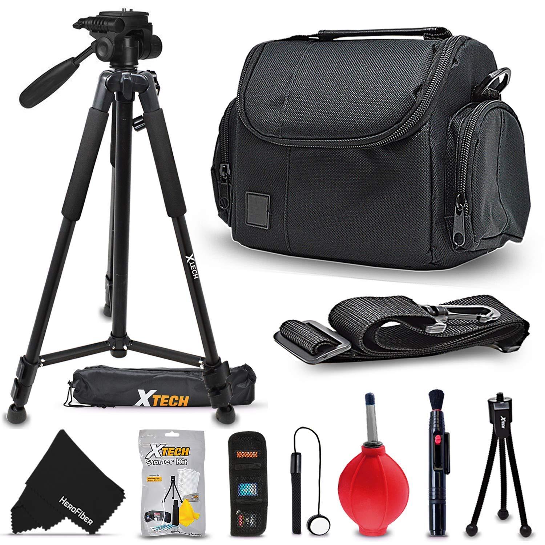 Xtech Premium Camera Case + Pro Series 72' inch Tripod for Sony Alpha A7R II, A7 II, A9, A7 A7R A7S A6500 A6300 A6000 A65 A77 A99 A900 A700 A580 A560 A550 A500 A450 A390 A380, NEX-7 NEX-6 Cameras by HeroFiber