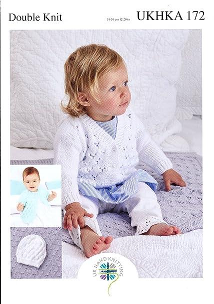 f202cf99e Amazon.com  Double Knitting Pattern - Baby Round or V Neck Lace ...