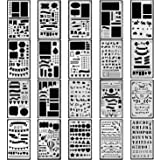 Journal Stencils, 20 PCS Plastic Planner Stencil with Different Patterns for Journaling/Scrap Booking/Notebook/Diary/Drawing /Card and DIY Craft, 4X7 Inch, White