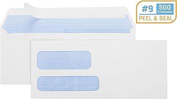 "Double Window Envelope Self Seal 1000 3-7//8/"" X 8-7//8/"" #9 Check Envelope"