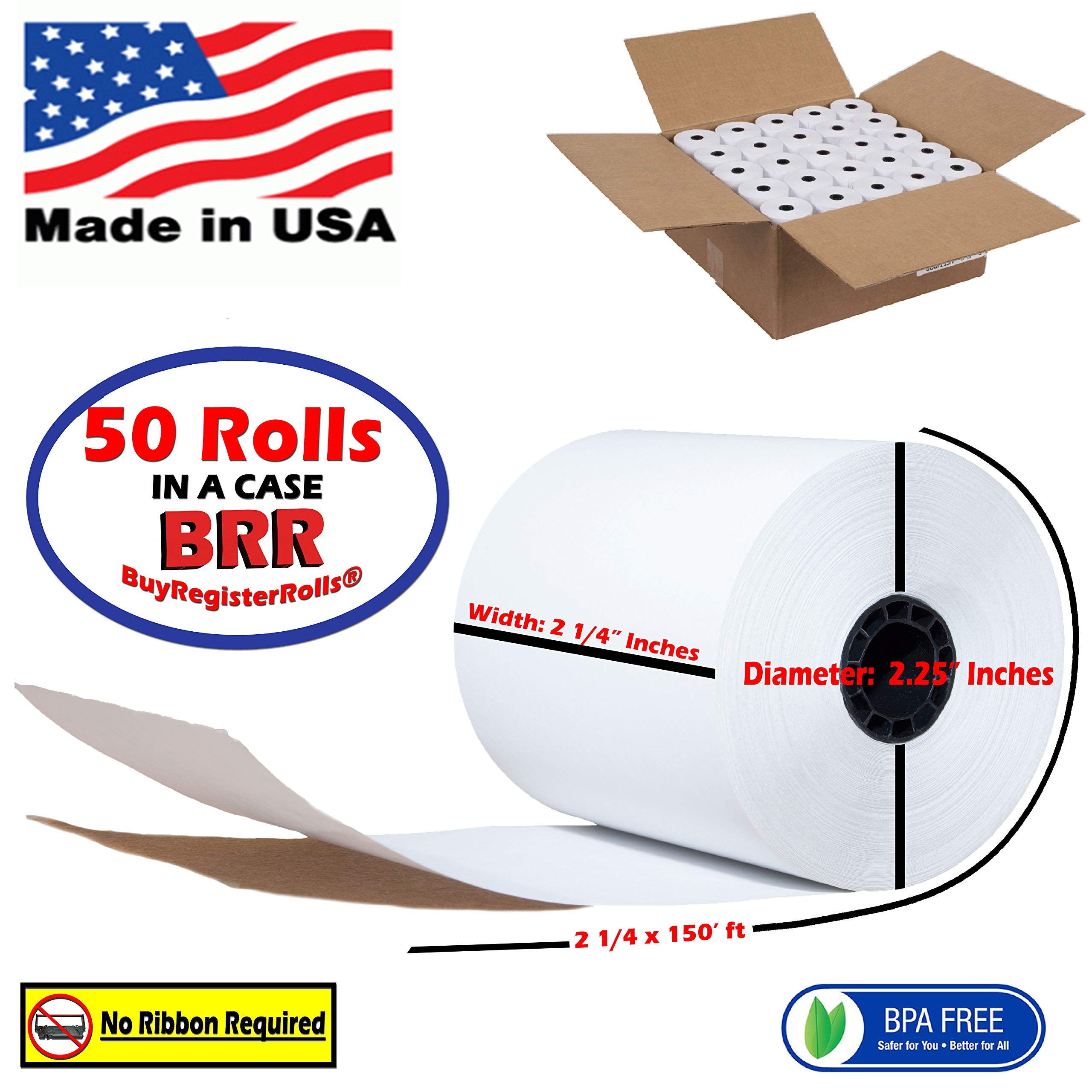 2 1/4 x 150 Thermal Paper Rolls 50 Rolls | Value Pack | Premium Quality BPA Free - Thermal Paper Rolls - from BuyRegisterRolls