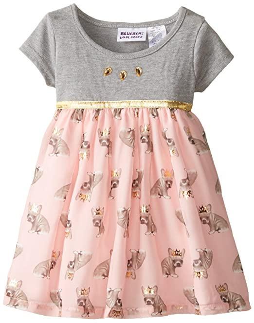 gama muy codiciada de Precio al por mayor 2019 tan baratas Blueberi Boulevard Baby Girls' Chiffon Animal Print Dress
