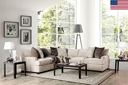 Beau Esofastore ALISA Living Room Furniture Ivory Chenille Fabric Sectional Sofa  Set Pillows Comfort Relax Couch Corner