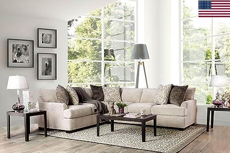 Amazon Com Esofastore Alisa Living Room Furniture Ivory Chenille