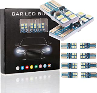 On Sale 194 LED Bulb Error Free, 168 T10 2825 W5W Interior Car Lights Super Bright 8SMD Chipset Car Dome Map Courtesy Trunk Lights, License Plate Marker Light Bulbs 6500K 12V Xenon White (Pack of 10)