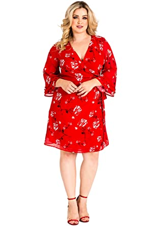 59ee21f4818 Standards   Practices Plus Size Womens Red Floral Chiffon Bell Sleeve Wrap  Dress Size 1X
