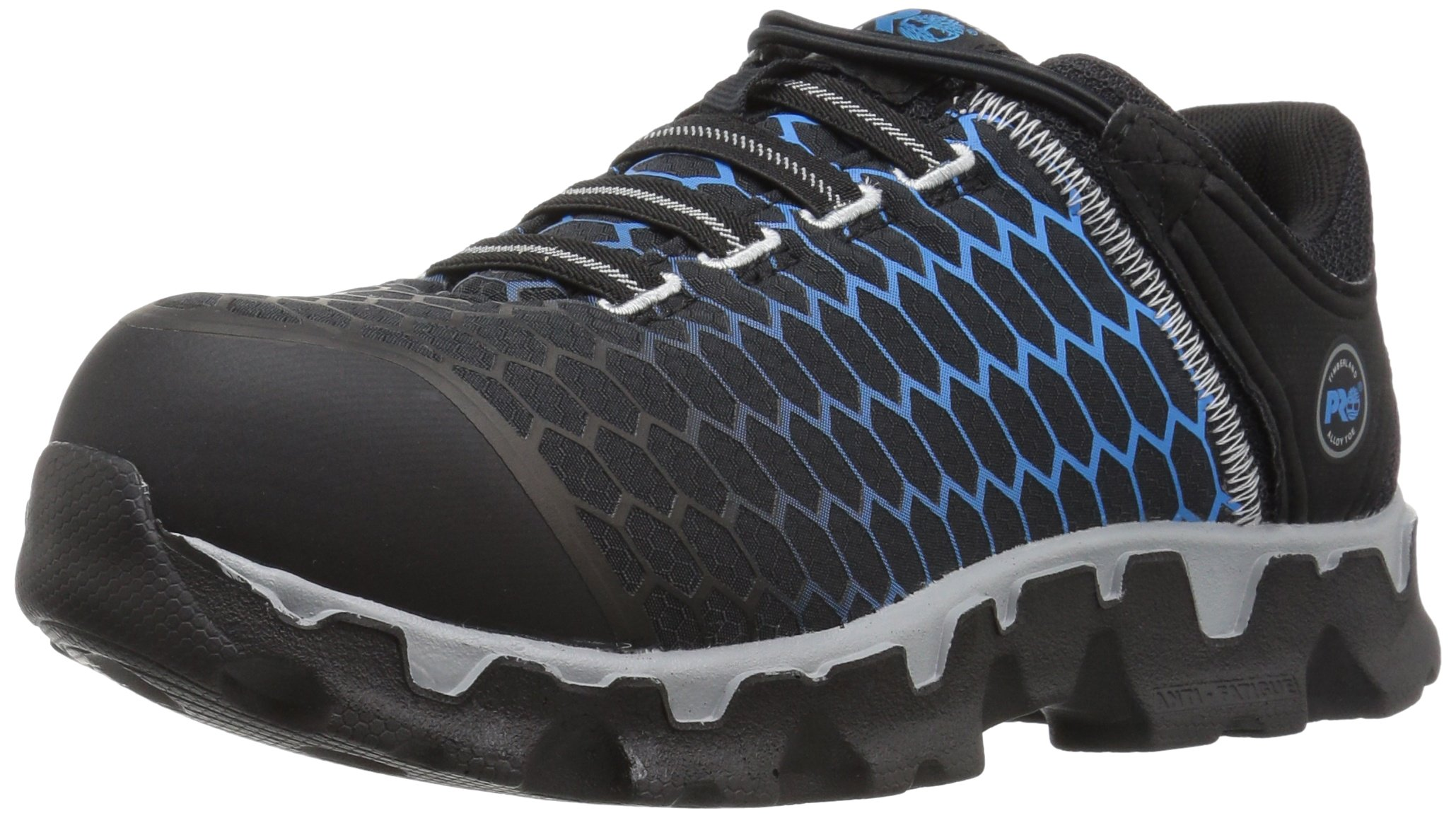 Timberland PRO Women's Powertrain Sport Slip on Alloy Toe SD+ Industrial and Construction Shoe, Black Ripstop Nylon with Blue, 5.5 M US