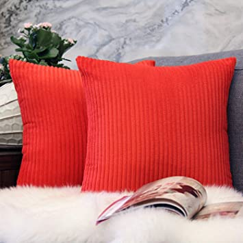 JOJUSIS Pack of 2 Throw Pillow Covers Red Corduroy Velvet Striped Plush  Soft Cushion Cases for Sofa Bedroom Car Couch Holiday Decor 18 x 18 Inch