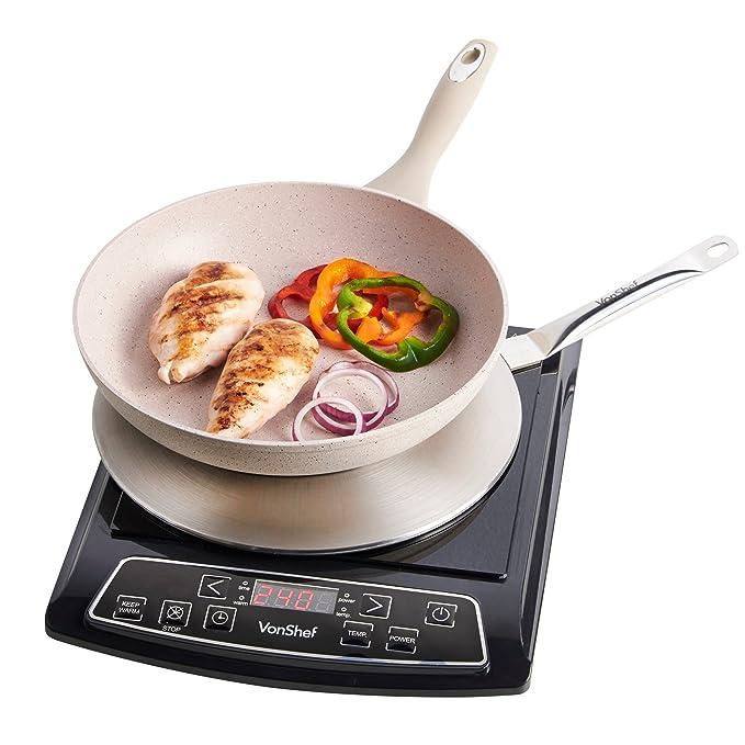 Shef - Set de 3 discos difusores del calor adaptadores de placa vitrocerámica a placa de inducción (para cocinar a fuego lento, en acero inoxidable)