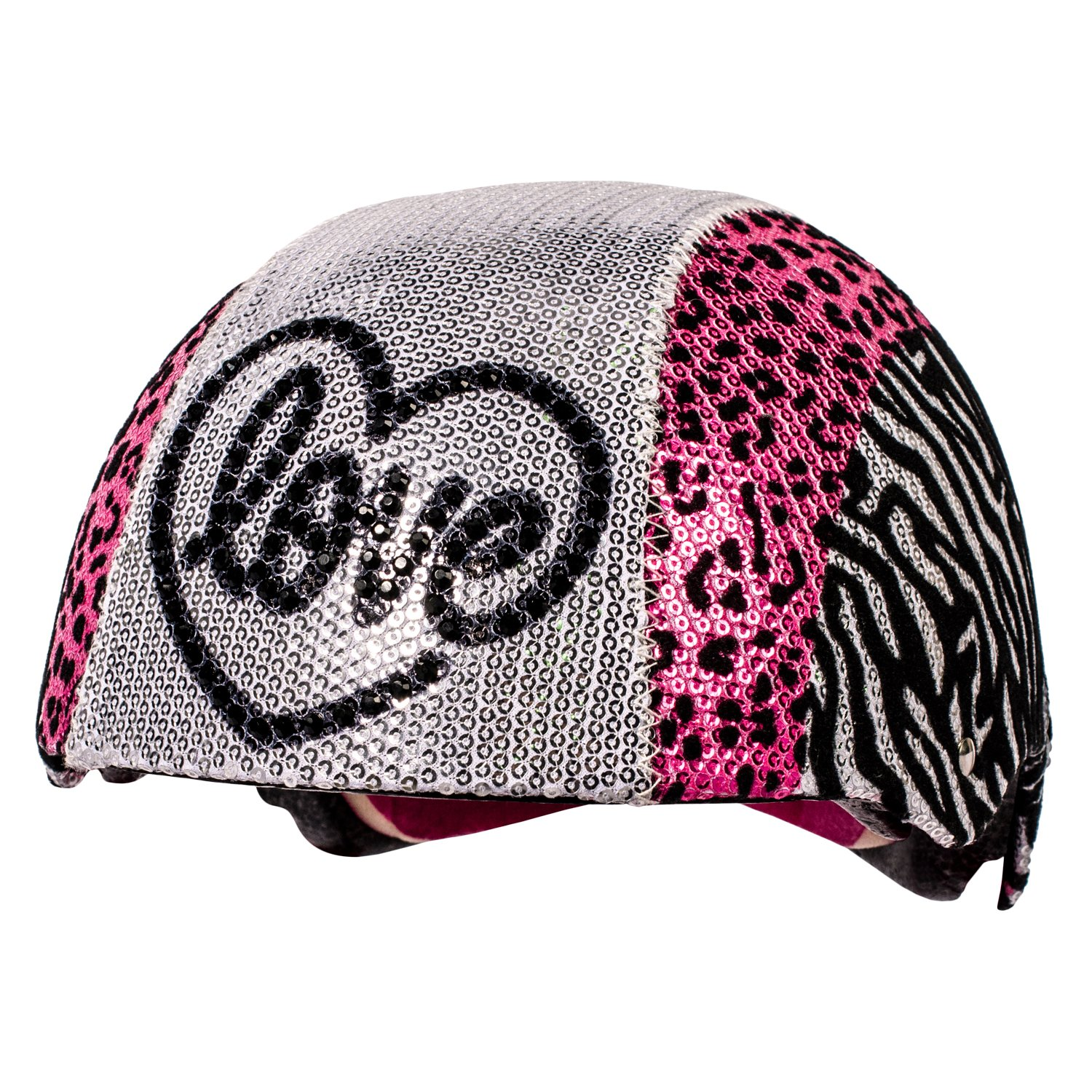 Raskullz Glam Gear Love Kids Bike Helmet Silver Sequins Zebra Pink Leopard Print for Cycling, One Size