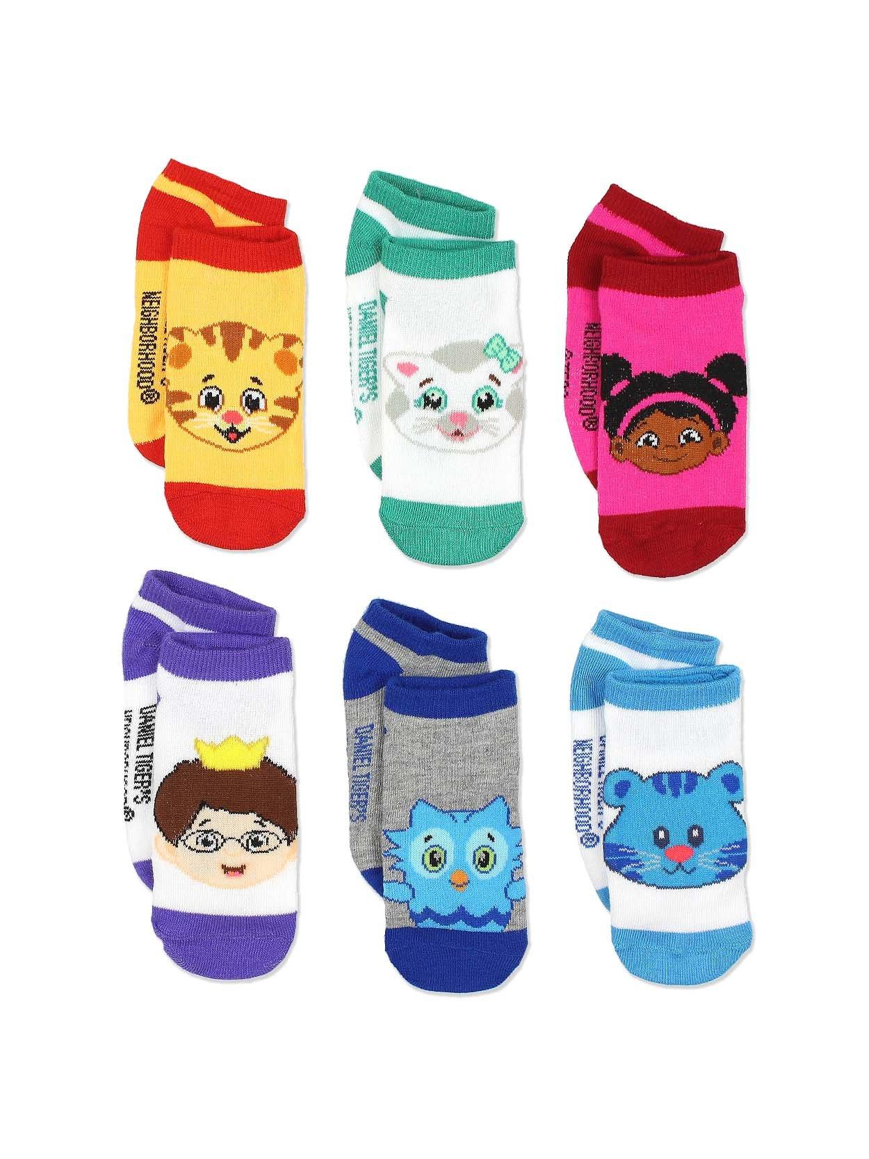 Daniel Tiger's Neighborhood Boys Girls 6 pack Socks (4-6 Toddler (Shoe: 7-10), Orange/Multi)