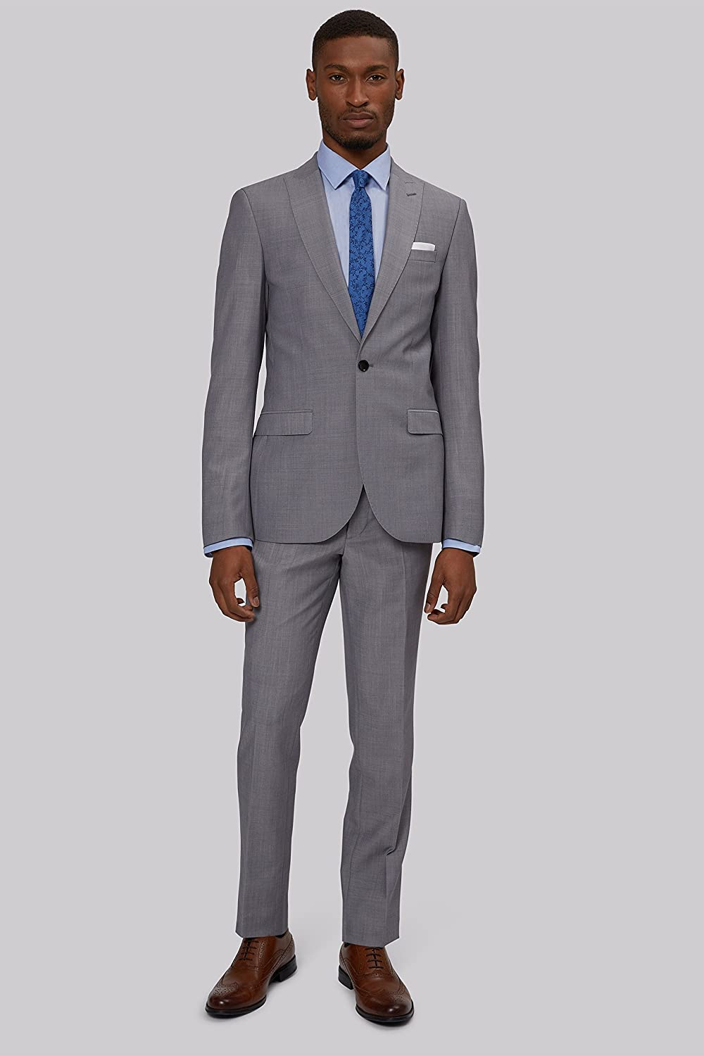 French Connection Slim Fit Light Grey 3 Piece Suit
