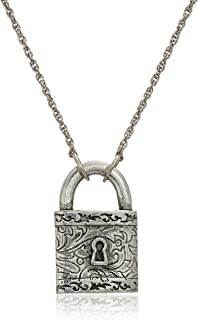 """product image for 1928 Jewelry Antiqued Pewter Tone Paddle Lock Charm Pendant Necklace, 28"""""""