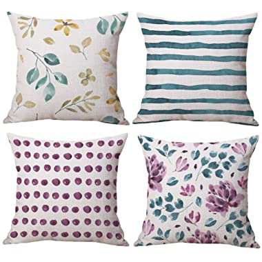 BLUETTEK Watercolor Floral Decorative Pillow Case Cover Set of 4 18 x 18 Inches Couch Cushion Covers