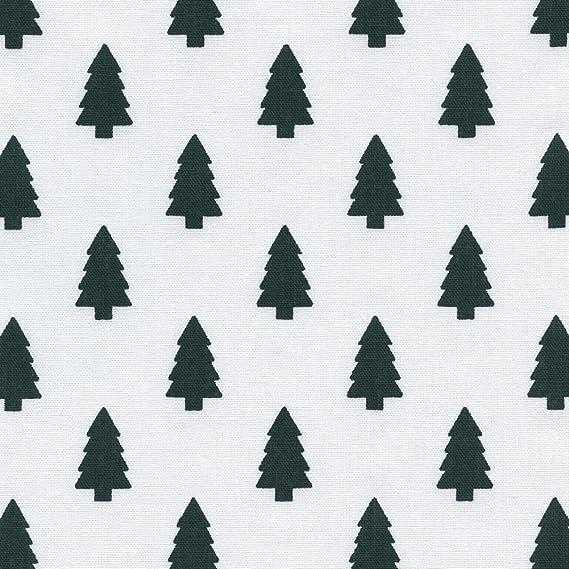 Tela de algodón estampada Los árboles de navidad - nieve blanca ...